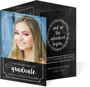 Chalkboard Frames Graduation Quadfold Invitation