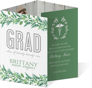Greenery Watercolor Wreath Graduation Invitation