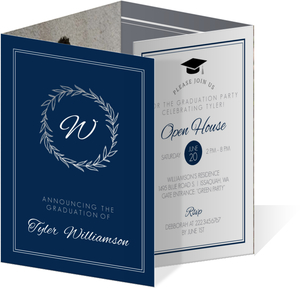 Silver Foil Wreath Classic Accordion Graduation Invitation