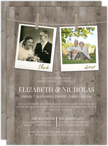 Now And Then Hanging Photos Anniversary Invitation