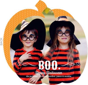 Elegant Boo Halloween Photo Card
