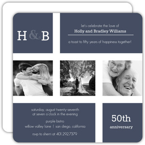 Modern Photo Monogram 50th Anniversary Invitation