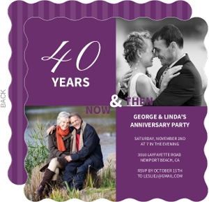 40th Anniversary Purple Modern Photo Squares Anniversary Party Invitation