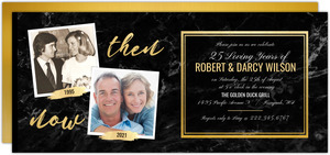 Faux Gold & Marble Anniversary Invitation