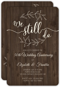 Textured Wood Botanical Anniversary Invitation