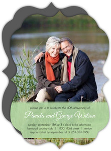 Green Ribbon 40th Wedding Anniversary Party Invite