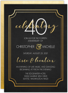 Timeless Faux Gold Wedding Anniversary Invitation