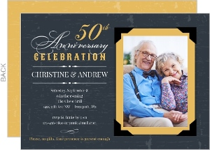Vintage Yellow Frame 50th Anniversary Invitation