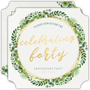 Faux Gold Foil And Green Watercolor Foliage Anniversary Invitation