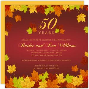 Cheap Custom 50th Anniversary Invitations | Invite Shop ...