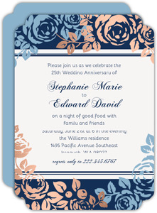 Faux Copper Foil Blue Floral Anniversary Invitations