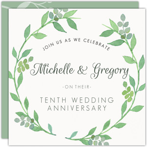 Green Watercolor Foliage Wreath Anniversary Invitation