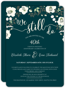 Charming Blue And Ivory Floral Anniversary Invitation