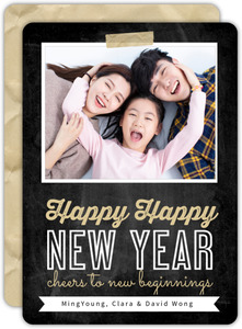 Resolutions and Champagne New Years Photo Card