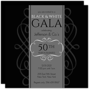 Black and White Gala Company Event Invite