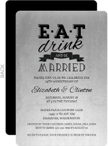 Silver Be Married 25th Anniversary Invitation