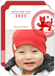 Decorative Monogram Chinese New Year Photo Card