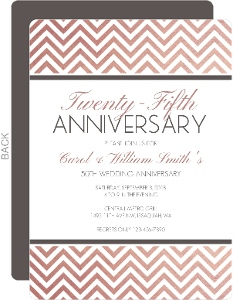 Rose Gold Chevron 25th Anniversary Invitation