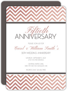 Rose Gold Chevron 50th Anniversary Invitation