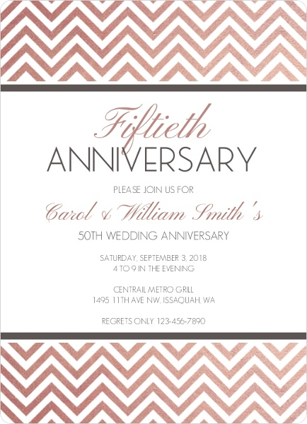 rose gold chevron 50th anniversary invitation anniversary invitations
