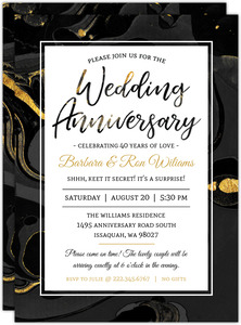 Black & Faux Gold Marble Anniversary Invitation
