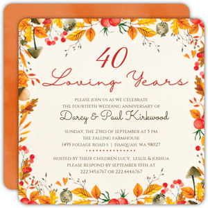 Autumn Watercolor Frame Anniversary Invitation