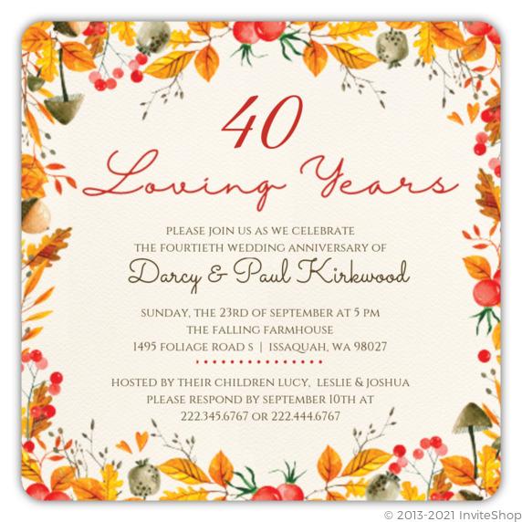 Autumn Watercolor Frame Anniversary Invitation | Anniversary Invitations