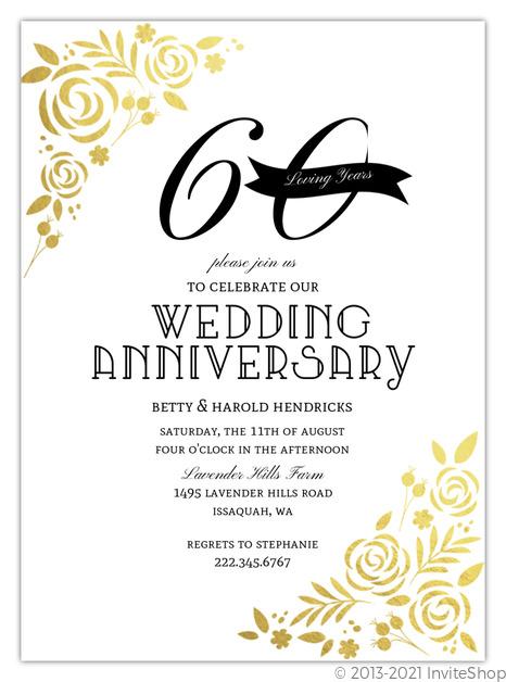 formal gold foil florals anniversary invitation anniversary
