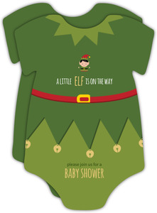 Cute Onesie Holiday Baby Shower Invitation