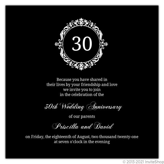 30th wedding anniversary anniversary invitations