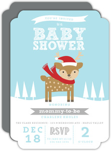 Winter Rudolph Holiday Baby Shower Invitation