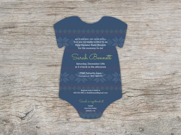 d666dcc3d Cute Ugly Sweater Baby Shower Invitation Card