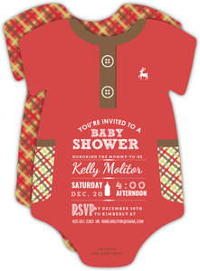 Red Onesie Pajama Baby Shower Invitation Card