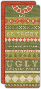 Green Tacky Ugly Sweater Christmas Party Invitation