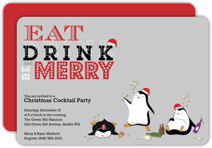 Cute Drunk Little Penguin Holiday Party Invitation