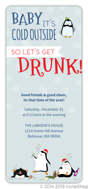 Its Cold So Get Drunk Funny Holiday Party Invitation Party