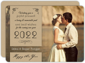 Elegant Vintage Kraft New years Photo Card