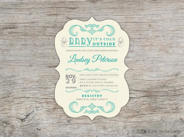 Charming Hand Crafted Winter Wonderland Baby Shower Invitation