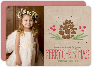 Vintage Cute Kraft Pine Holiday Photo Card
