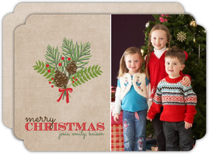 Beautiful Pine Bouquet Christmas Photo Card
