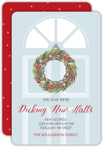 Festive Wreath Door Christmas Moving Announcement