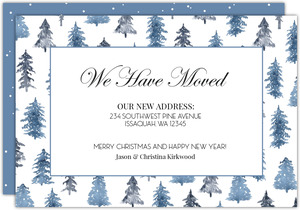 Watercolor Winter Trees Holiday Moving Announcement