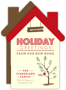 Cute House Holiday Greetings Moving Announcement Photo Card