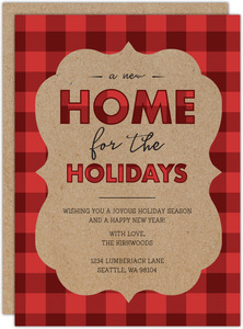 Red Plaid and Kraft Holiday Moving Announcement