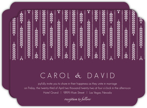 Purple Willow Leaf Pattern Wedding Invitation