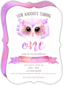 Pink Purple Watercolor Owl Birthday Invitation