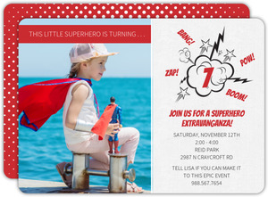 Red Superhero Photo Birthday Invitation