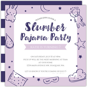 Fun Night Sky Slumber Party Birthday Invitation