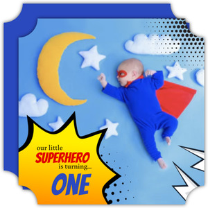 Yellow Explosion Superhero Photo Birthday Invitation