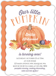 Fall Little Pumpkin Birthday Invitation